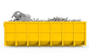 Horizontal view of animated skip filled with concrete